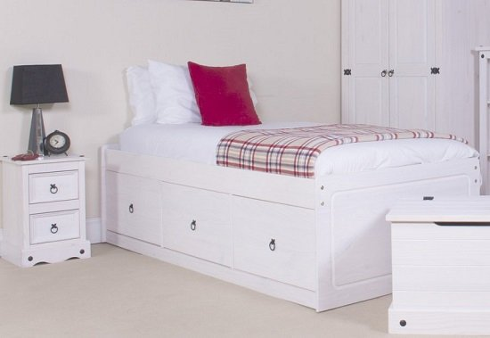 Coroner Cabin Bed In White Washed With 3 Drawers_4